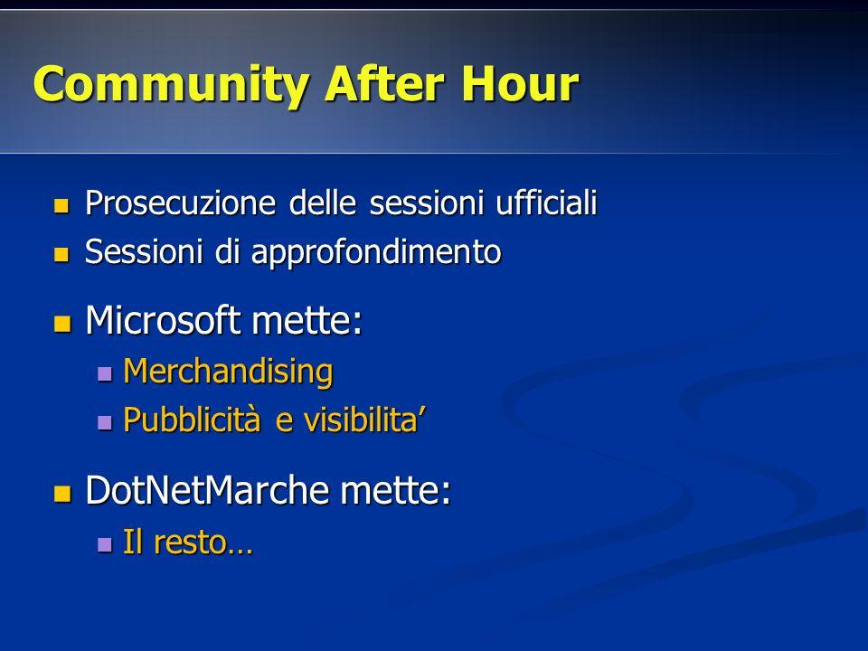 Prosecuzione delle sessioni ufficiali Prosecuzione delle sessioni ufficiali Sessioni di approfondimento Sessioni di approfondimento Microsoft mette: M
