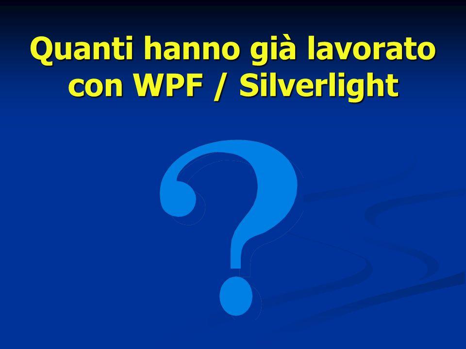 Quanti hanno già lavorato con WPF / Silverlight