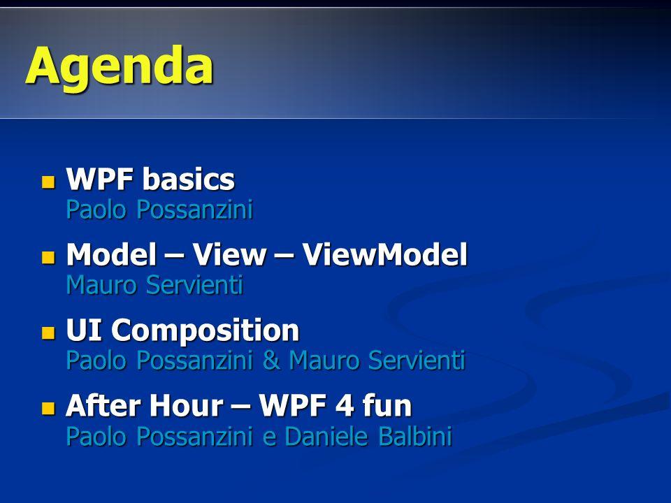 WPF basics Paolo Possanzini WPF basics Paolo Possanzini Model – View – ViewModel Mauro Servienti Model – View – ViewModel Mauro Servienti UI Compositi
