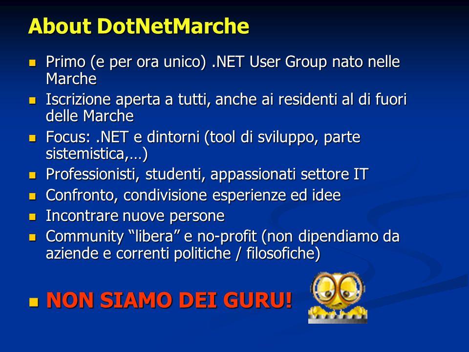About DotNetMarche Primo (e per ora unico).NET User Group nato nelle Marche Primo (e per ora unico).NET User Group nato nelle Marche Iscrizione aperta