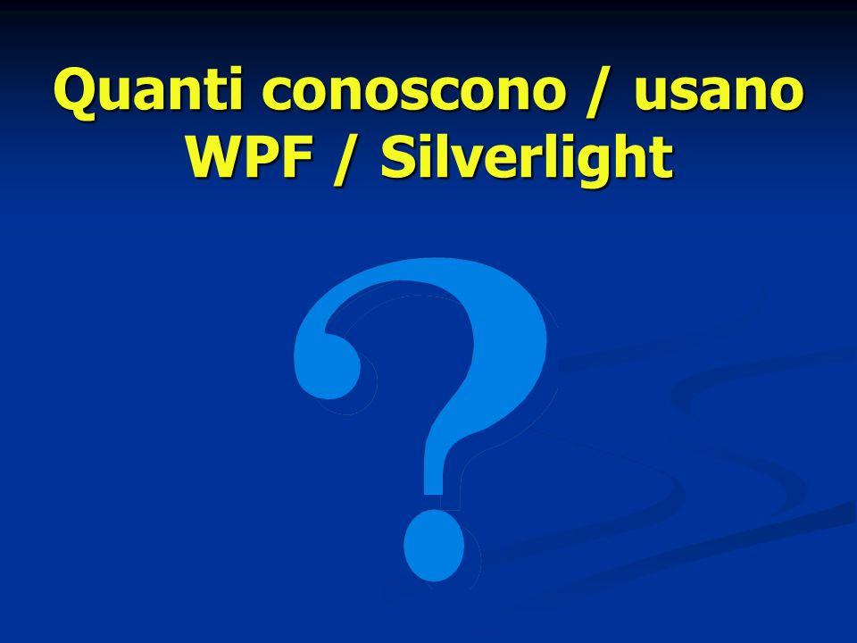 Quanti conoscono / usano WPF / Silverlight