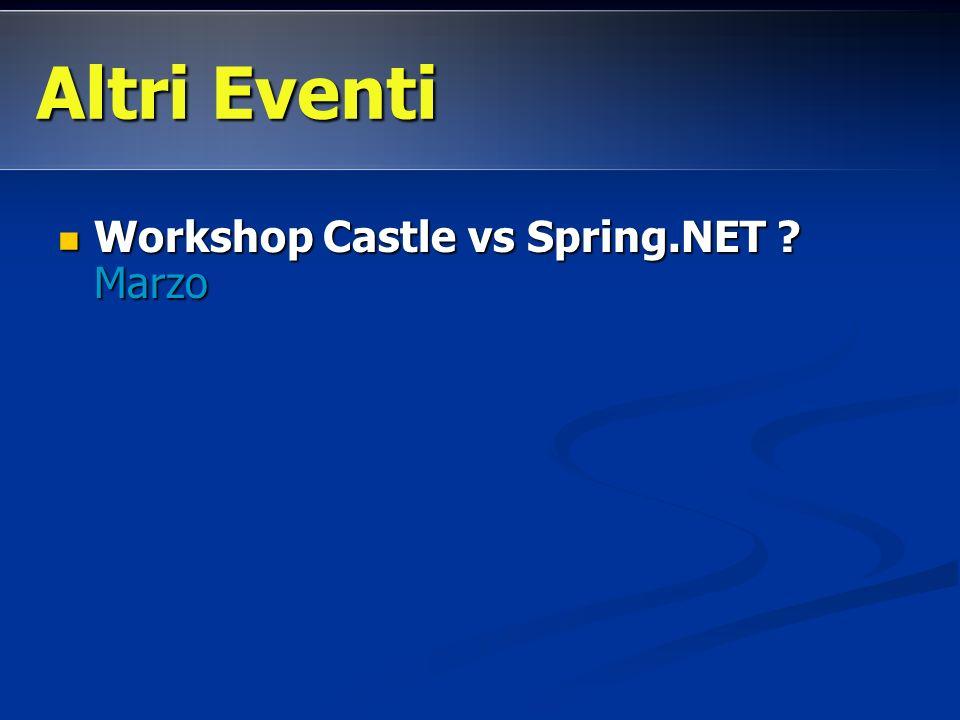 Workshop Castle vs Spring.NET ? Marzo Workshop Castle vs Spring.NET ? Marzo Altri Eventi