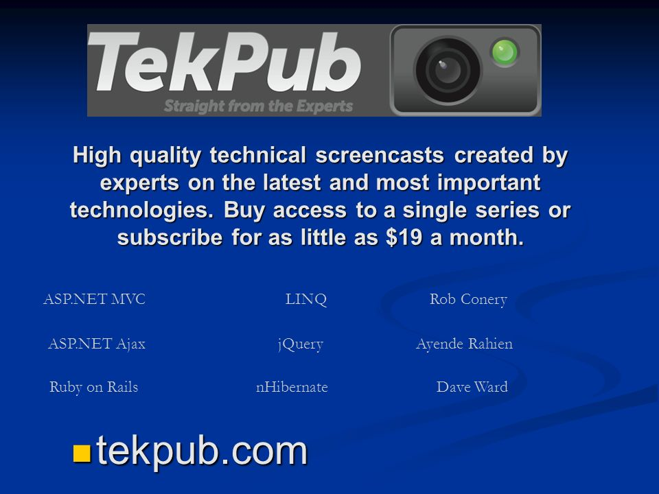 High quality technical screencasts created by experts on the latest and most important technologies. Buy access to a single series or subscribe for as