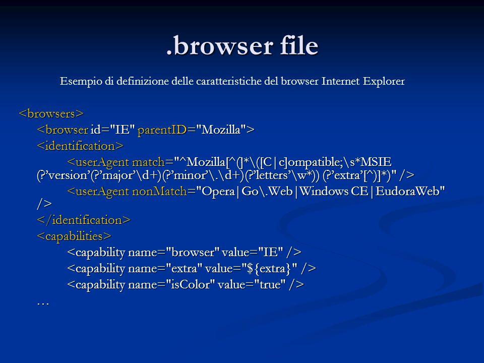 .browser file <browsers> <identification> </identification><capabilities> … Esempio di definizione delle caratteristiche del browser Internet Explorer