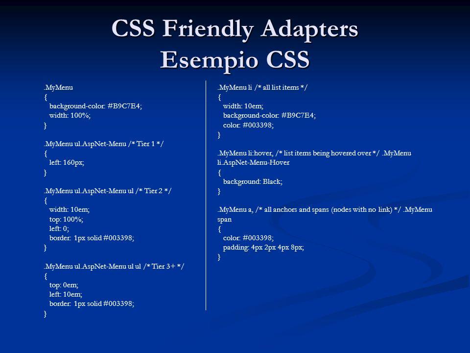 CSS Friendly Adapters Esempio CSS.MyMenu { background-color: #B9C7E4; width: 100%; }.MyMenu ul.AspNet-Menu /* Tier 1 */ { left: 160px; }.MyMenu ul.Asp