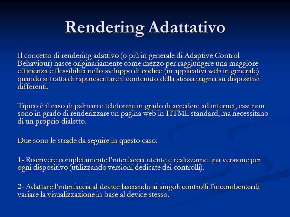 Rendering Adattativo Il concetto di rendering adattivo (o più in generale di Adaptive Control Behaviour) nasce originariamente come mezzo per raggiung