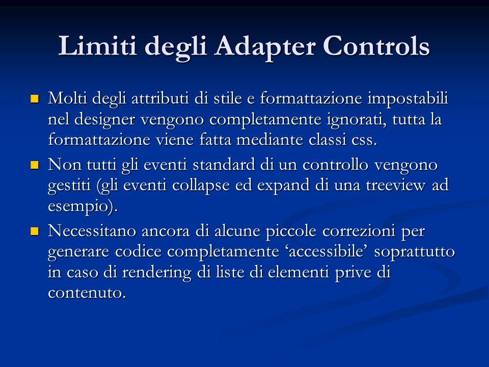 Limiti degli Adapter Controls Molti degli attributi di stile e formattazione impostabili nel designer vengono completamente ignorati, tutta la formatt