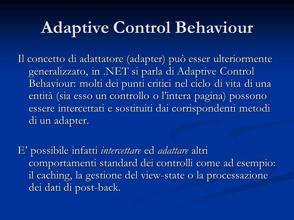 Adaptive Control Behaviour Il concetto di adattatore (adapter) può esser ulteriormente generalizzato, in.NET si parla di Adaptive Control Behaviour: m
