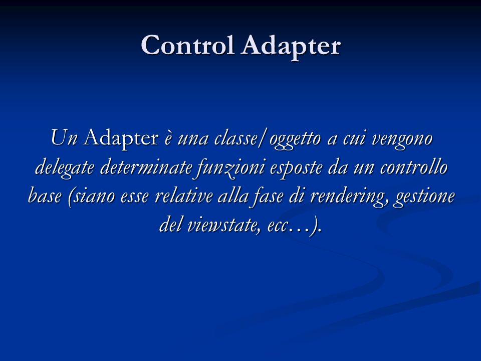 Control Adapter Un Adapter è una classe/oggetto a cui vengono delegate determinate funzioni esposte da un controllo base (siano esse relative alla fas