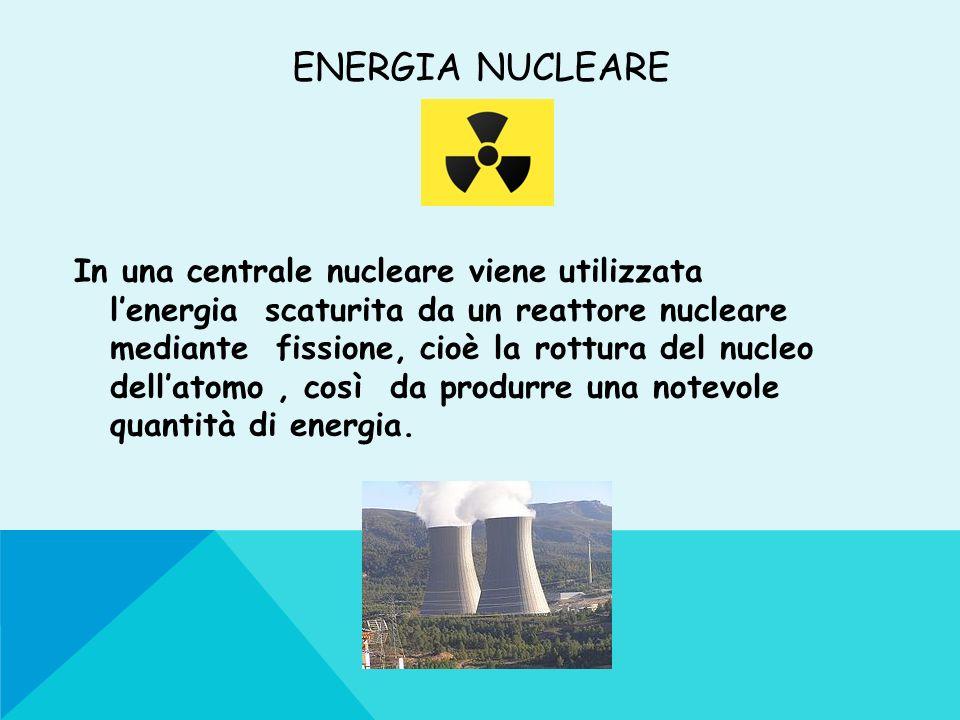 ENERGIA NUCLEARE In una centrale nucleare viene utilizzata lenergia scaturita da un reattore nucleare mediante fissione, cioè la rottura del nucleo de