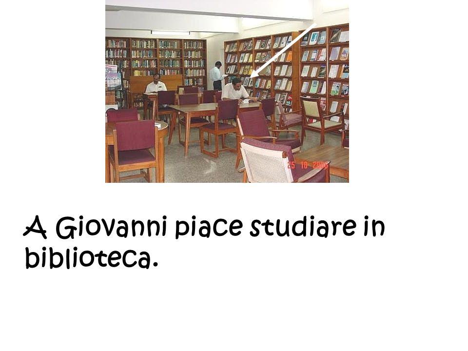 A Giovanni piace studiare in biblioteca.