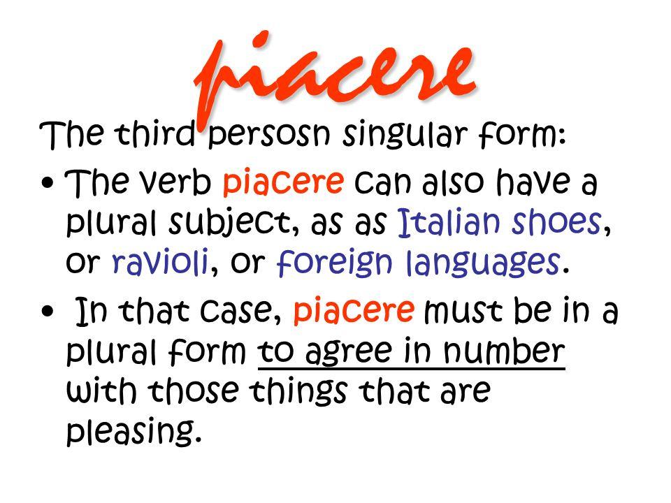 piacere The third person plural form of piacere is piacciono.