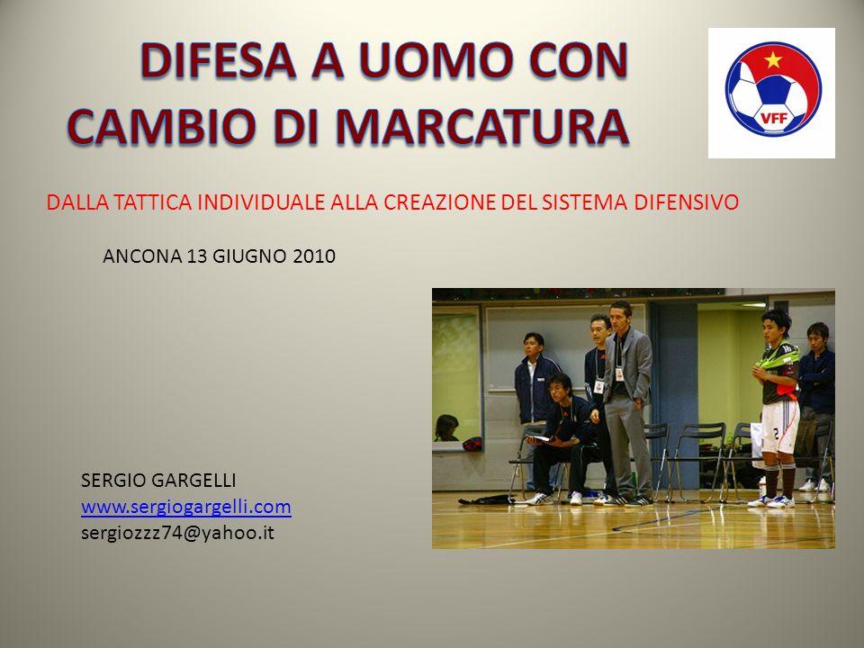 DALLA TATTICA INDIVIDUALE ALLA CREAZIONE DEL SISTEMA DIFENSIVO SERGIO GARGELLI www.sergiogargelli.com sergiozzz74@yahoo.it ANCONA 13 GIUGNO 2010
