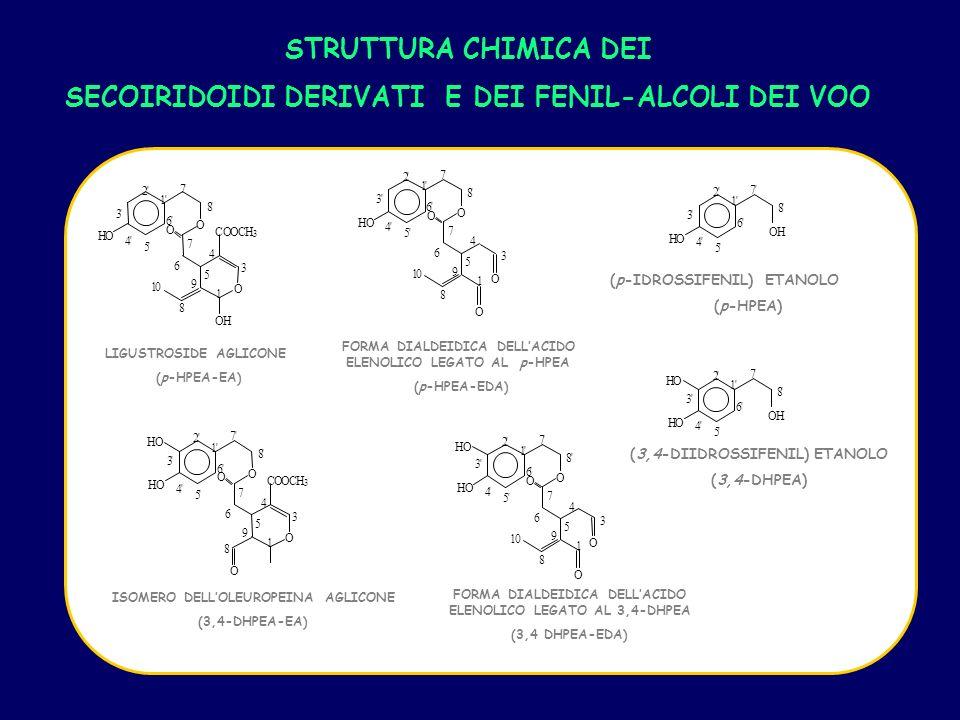 8 7 1 2 3 4 5 6 H O O H (p-IDROSSIFENIL) ETANOLO (p-HPEA) FORMA DIALDEIDICA DELLACIDO ELENOLICO LEGATO AL 3,4-DHPEA (3,4 DHPEA-EDA) 8 7 1 2 4 5 6 O H (3,4-DIIDROSSIFENIL) ETANOLO (3,4-DHPEA) STRUTTURA CHIMICA DEI SECOIRIDOIDI DERIVATI E DEI FENIL-ALCOLI DEI VOO