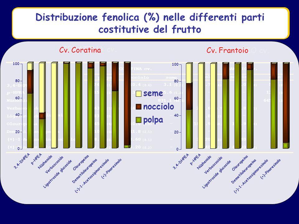 Distribuzione fenolica (mg/100g) nelle differenti parti costitutive del frutto Cv.
