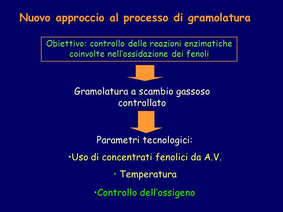 Nuovo approccio al processo di gramolatura Obiettivo: controllo delle reazioni enzimatiche coinvolte nellossidazione dei fenoli Gramolatura a scambio gassoso controllato Parametri tecnologici: Uso di concentrati fenolici da A.V.Uso di concentrati fenolici da A.V.