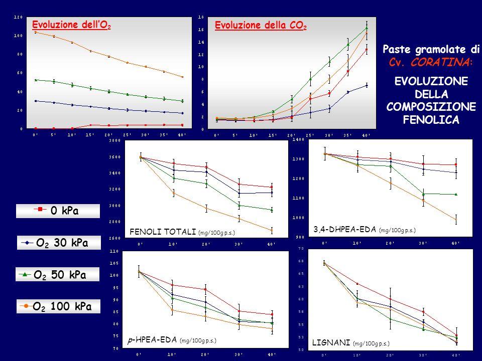 Evoluzione della CO 2 O 2 30 kPa 0 kPa O 2 50 kPa O 2 100 kPa 3,4-DHPEA-EDA (mg/100g p.s.) FENOLI TOTALI (mg/100g p.s.) p-HPEA-EDA (mg/100g p.s.) LIGNANI (mg/100g p.s.) Paste gramolate di Cv.