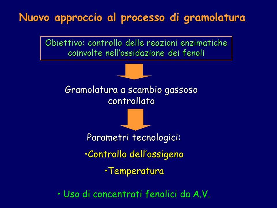 Nuovo approccio al processo di gramolatura Obiettivo: controllo delle reazioni enzimatiche coinvolte nellossidazione dei fenoli Gramolatura a scambio gassoso controllato Parametri tecnologici: Controllo dellossigenoControllo dellossigeno TemperaturaTemperatura Uso di concentrati fenolici da A.V.