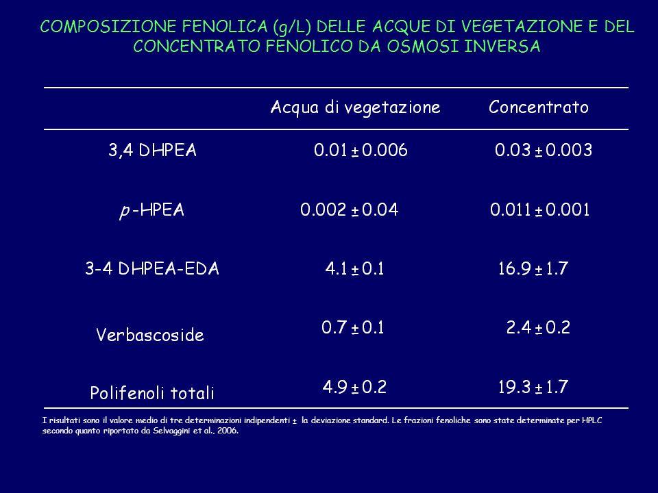 COMPOSIZIONE FENOLICA (g/L) DELLE ACQUE DI VEGETAZIONE E DEL CONCENTRATO FENOLICO DA OSMOSI INVERSA I risultati sono il valore medio di tre determinazioni indipendenti ± la deviazione standard.