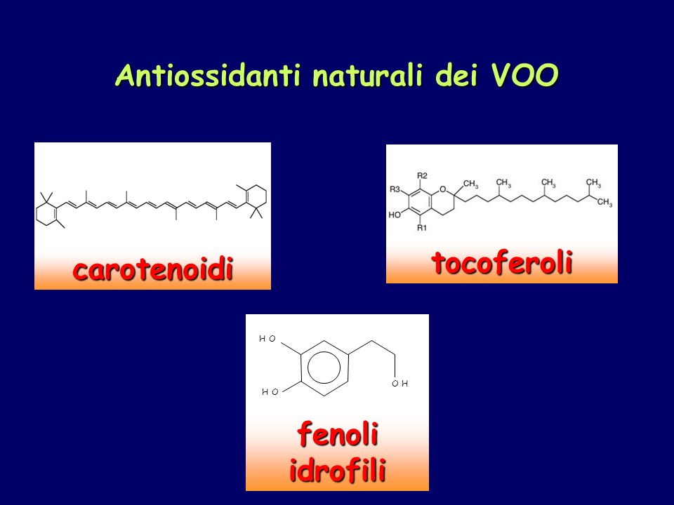 Antiossidanti naturali dei VOO carotenoidi tocoferoli 8 7 1 2 3 4 5 6 H O H O O H fenoli idrofili