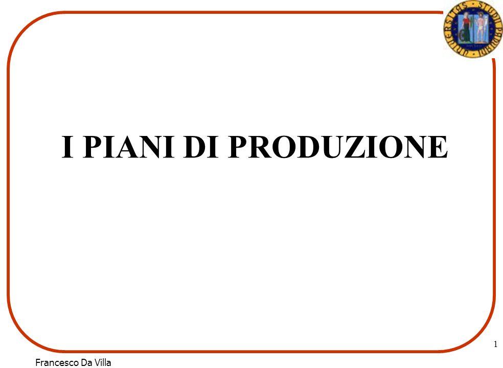Francesco Da Villa 1 I PIANI DI PRODUZIONE