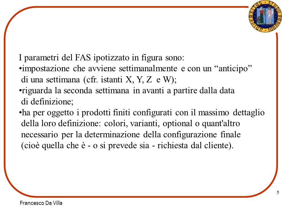 Francesco Da Villa 6 Bimestri1 2 3 4 5 6 Previsioni Commer- ciali/Ordini Clienti505060607070 Piano di Produzione0 0 500 0 0 0 Esempio di definizione di un PP