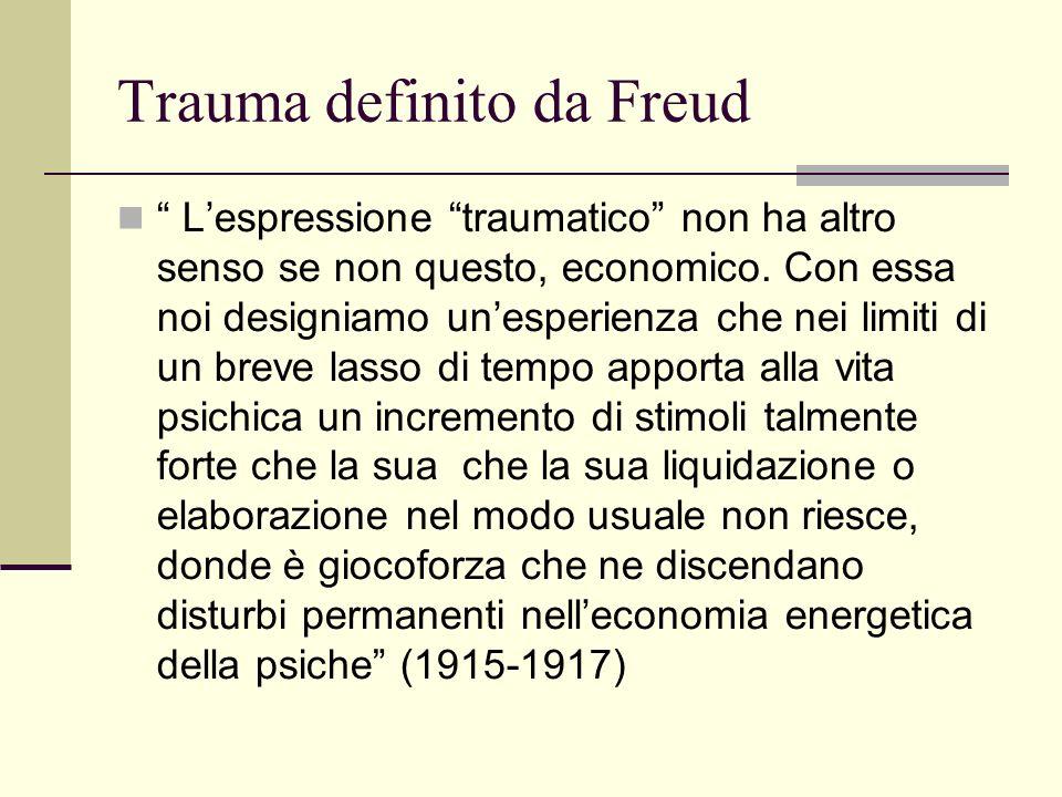 Trauma definito da Freud Lespressione traumatico non ha altro senso se non questo, economico.