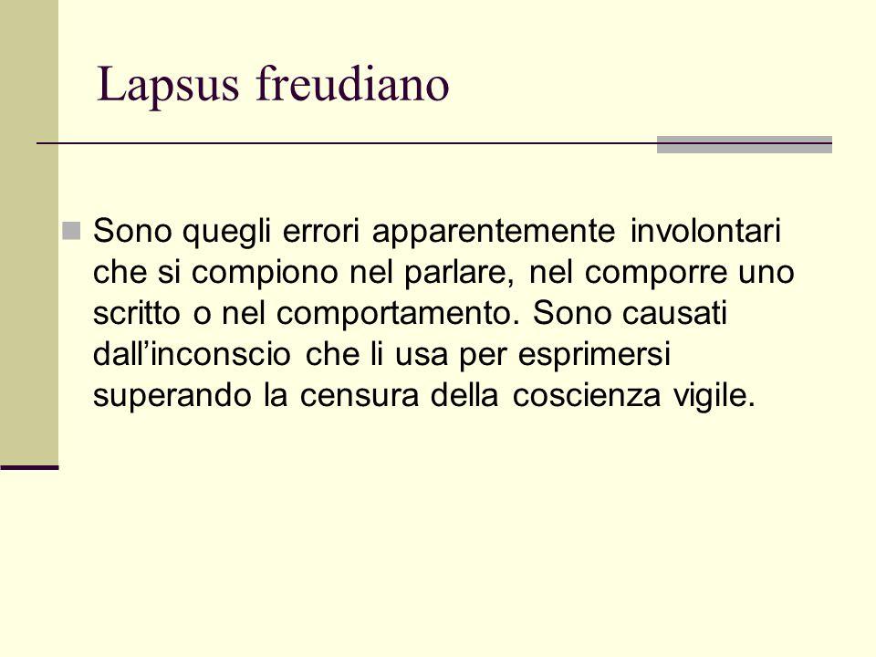 Lapsus freudiano Sono quegli errori apparentemente involontari che si compiono nel parlare, nel comporre uno scritto o nel comportamento.
