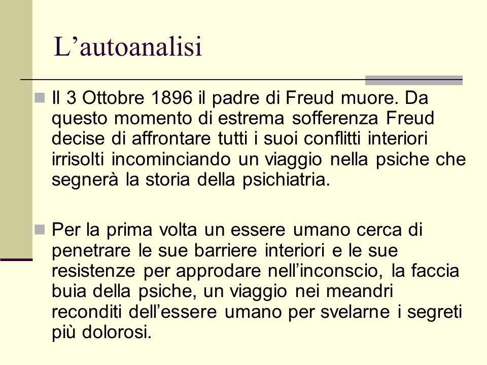 Lautoanalisi Il 3 Ottobre 1896 il padre di Freud muore.