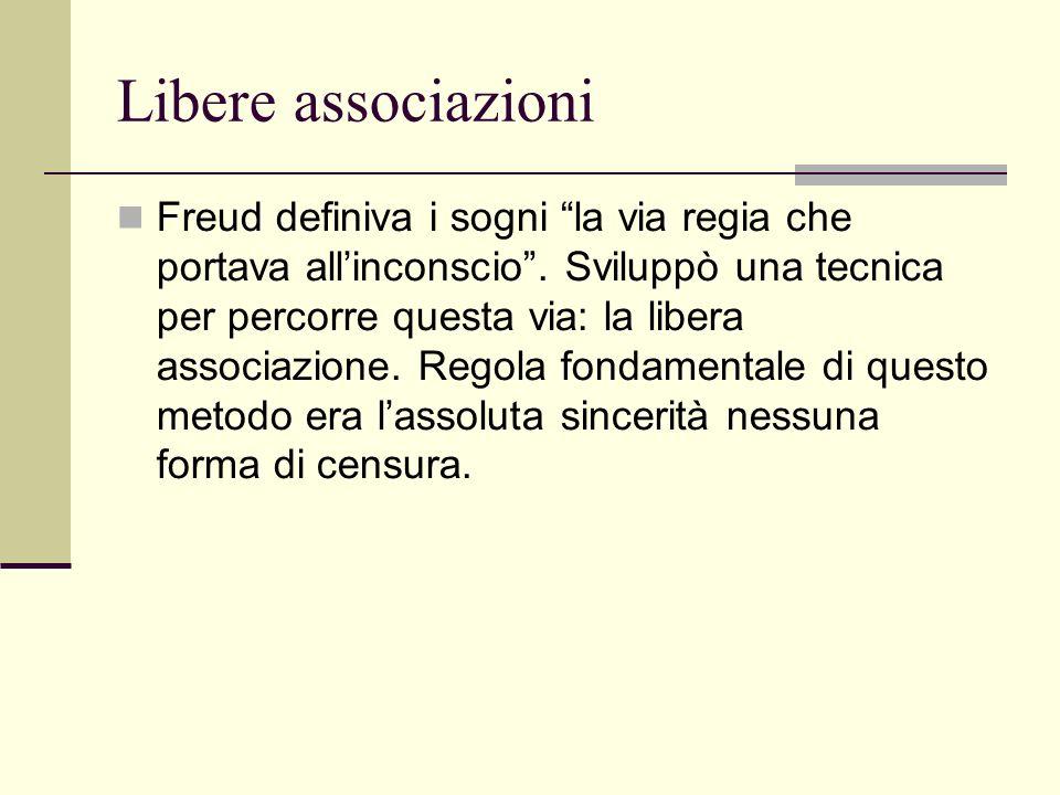 Libere associazioni Freud definiva i sogni la via regia che portava allinconscio.
