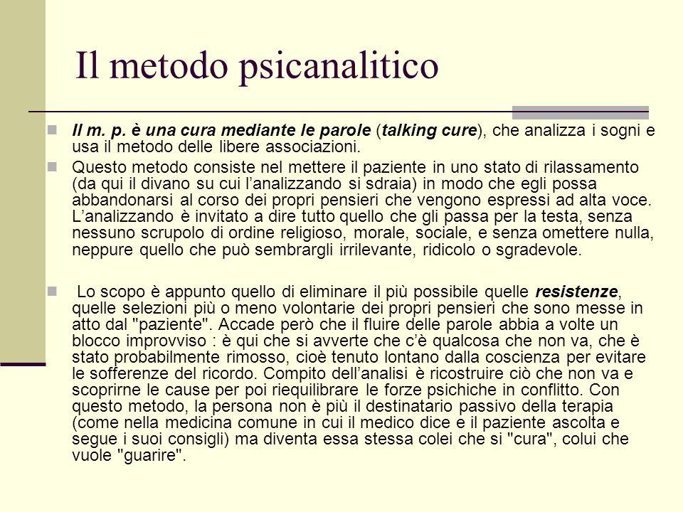 Il metodo psicanalitico Il m. p.