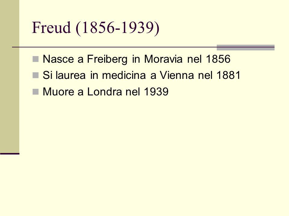 Freud (1856-1939) Nasce a Freiberg in Moravia nel 1856 Si laurea in medicina a Vienna nel 1881 Muore a Londra nel 1939