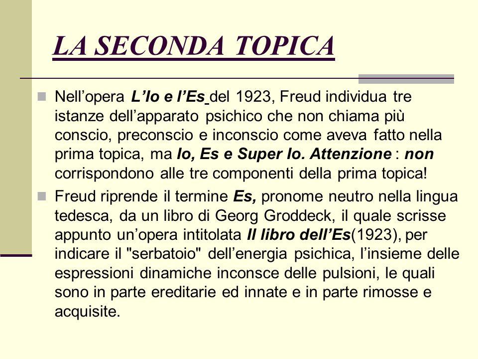 LA SECONDA TOPICA Nellopera LIo e lEs del 1923, Freud individua tre istanze dellapparato psichico che non chiama più conscio, preconscio e inconscio come aveva fatto nella prima topica, ma Io, Es e Super Io.