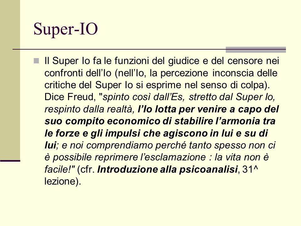 Super-IO Il Super Io fa le funzioni del giudice e del censore nei confronti dellIo (nellIo, la percezione inconscia delle critiche del Super Io si esprime nel senso di colpa).
