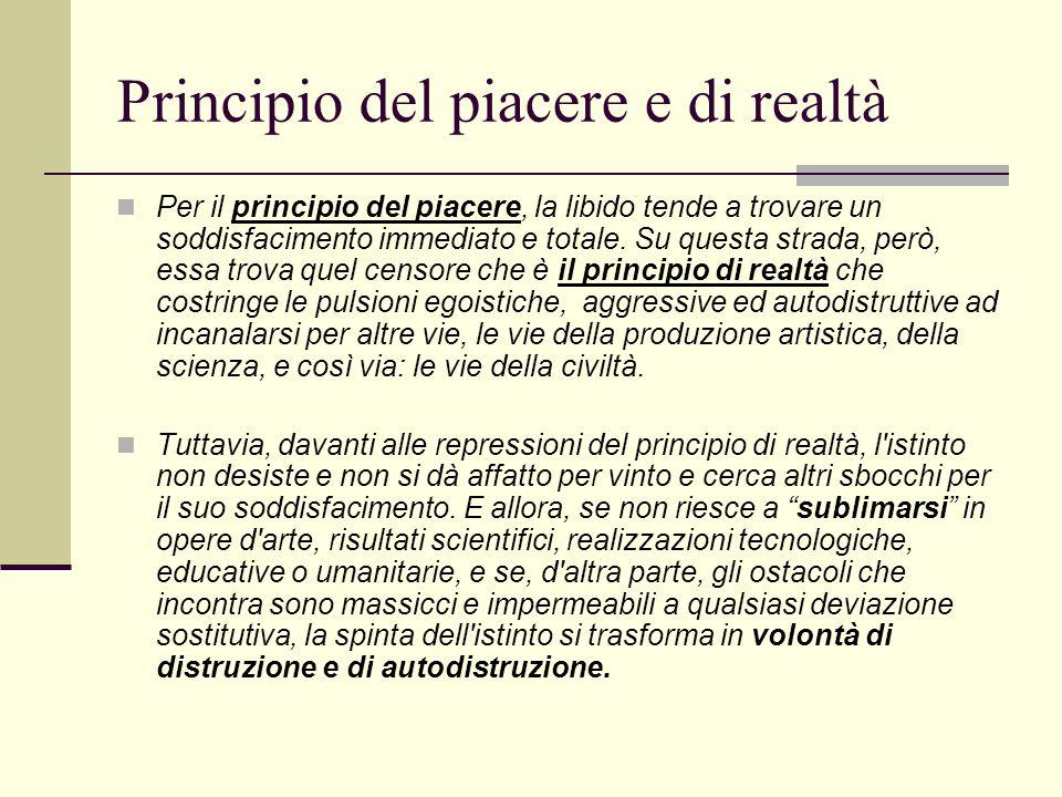 Principio del piacere e di realtà Per il principio del piacere, la libido tende a trovare un soddisfacimento immediato e totale.