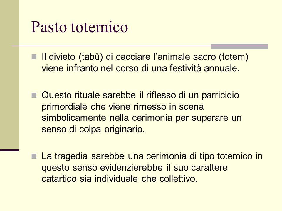 Pasto totemico Il divieto (tabù) di cacciare lanimale sacro (totem) viene infranto nel corso di una festività annuale.