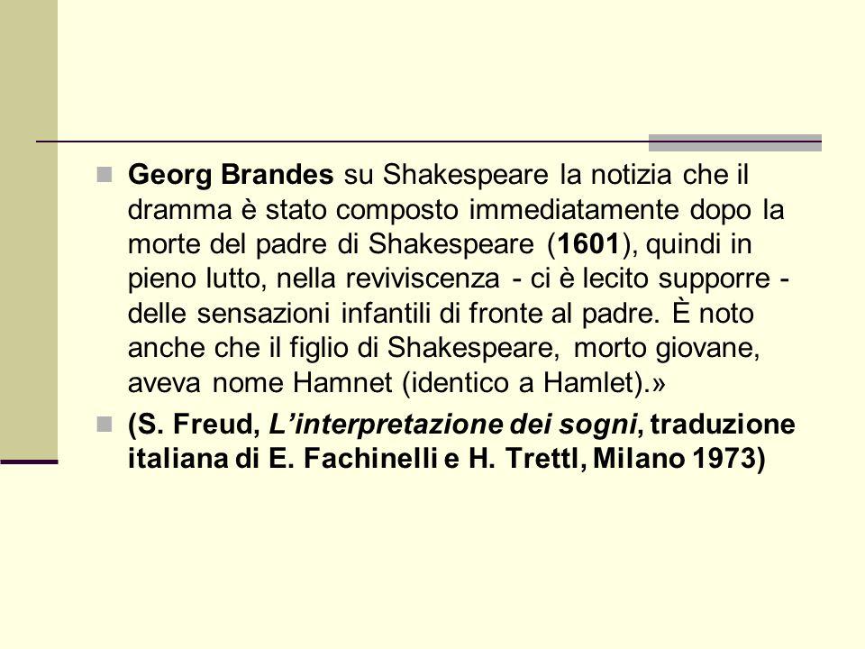 Georg Brandes su Shakespeare la notizia che il dramma è stato composto immediatamente dopo la morte del padre di Shakespeare (1601), quindi in pieno lutto, nella reviviscenza - ci è lecito supporre - delle sensazioni infantili di fronte al padre.