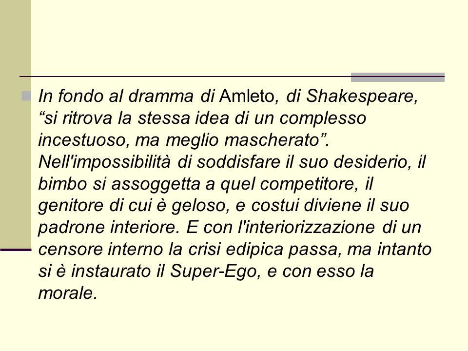 In fondo al dramma di Amleto, di Shakespeare, si ritrova la stessa idea di un complesso incestuoso, ma meglio mascherato.