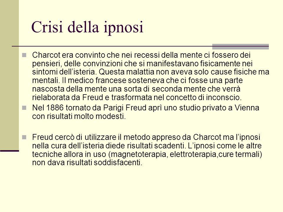 Crisi della ipnosi Charcot era convinto che nei recessi della mente ci fossero dei pensieri, delle convinzioni che si manifestavano fisicamente nei sintomi dellisteria.