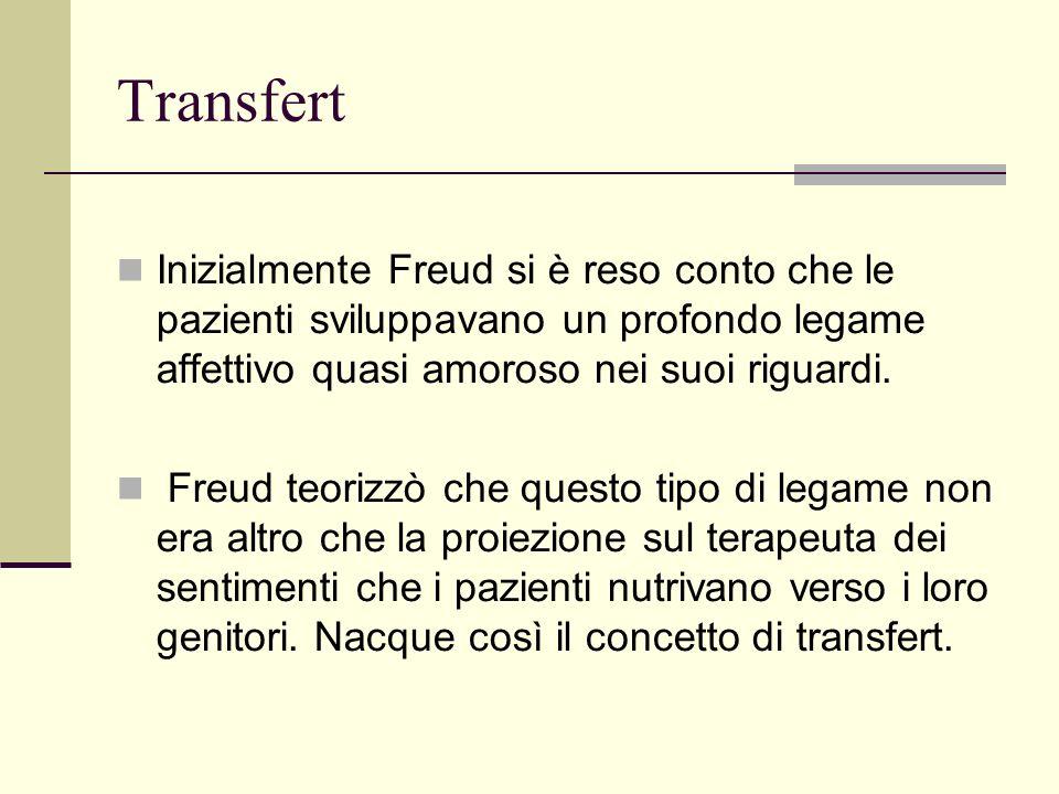 Transfert Inizialmente Freud si è reso conto che le pazienti sviluppavano un profondo legame affettivo quasi amoroso nei suoi riguardi.