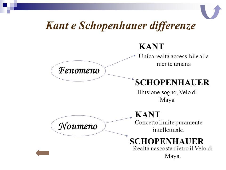 Kant e Schopenhauer differenze Fenomeno Noumeno KANT SCHOPENHAUER Unica realtà accessibile alla mente umana Illusione,sogno, Velo di Maya KANT SCHOPEN