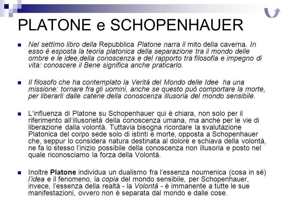 PLATONE e SCHOPENHAUER Nel settimo libro della Repubblica Platone narra il mito della caverna. In esso è esposta la teoria platonica della separazione