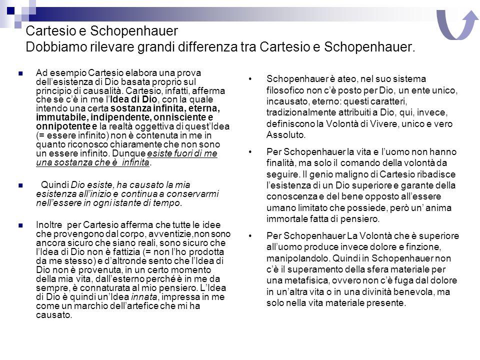 Cartesio e Schopenhauer Dobbiamo rilevare grandi differenza tra Cartesio e Schopenhauer. Ad esempio Cartesio elabora una prova dellesistenza di Dio ba