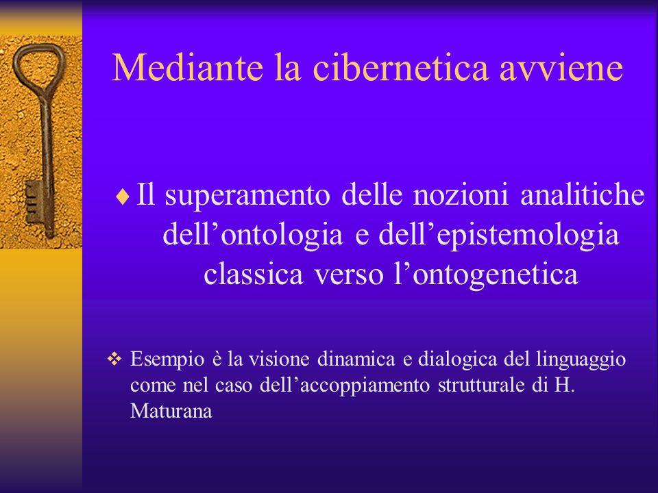 Mediante la cibernetica avviene Il superamento delle nozioni analitiche dellontologia e dellepistemologia classica verso lontogenetica Esempio è la vi