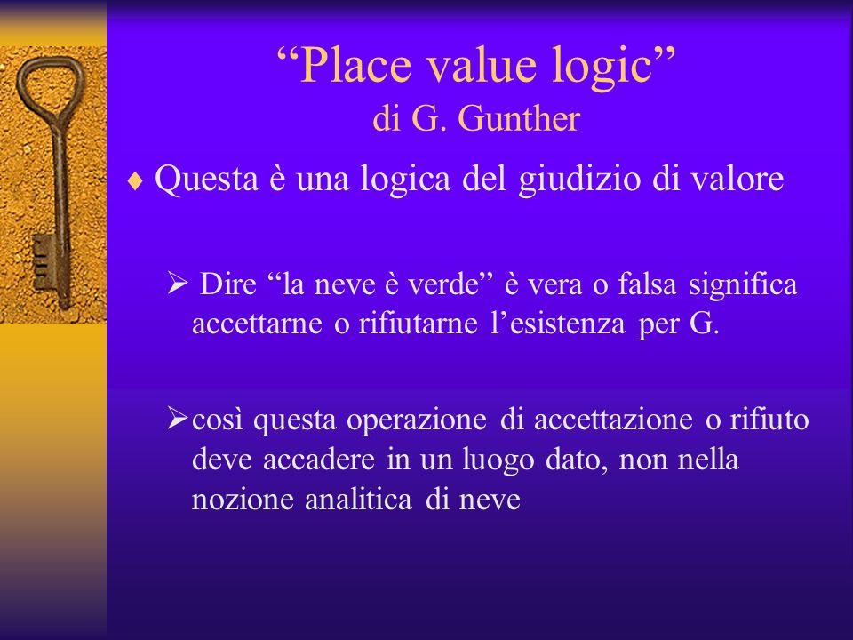 Place value logic di G. Gunther Questa è una logica del giudizio di valore Dire la neve è verde è vera o falsa significa accettarne o rifiutarne lesis