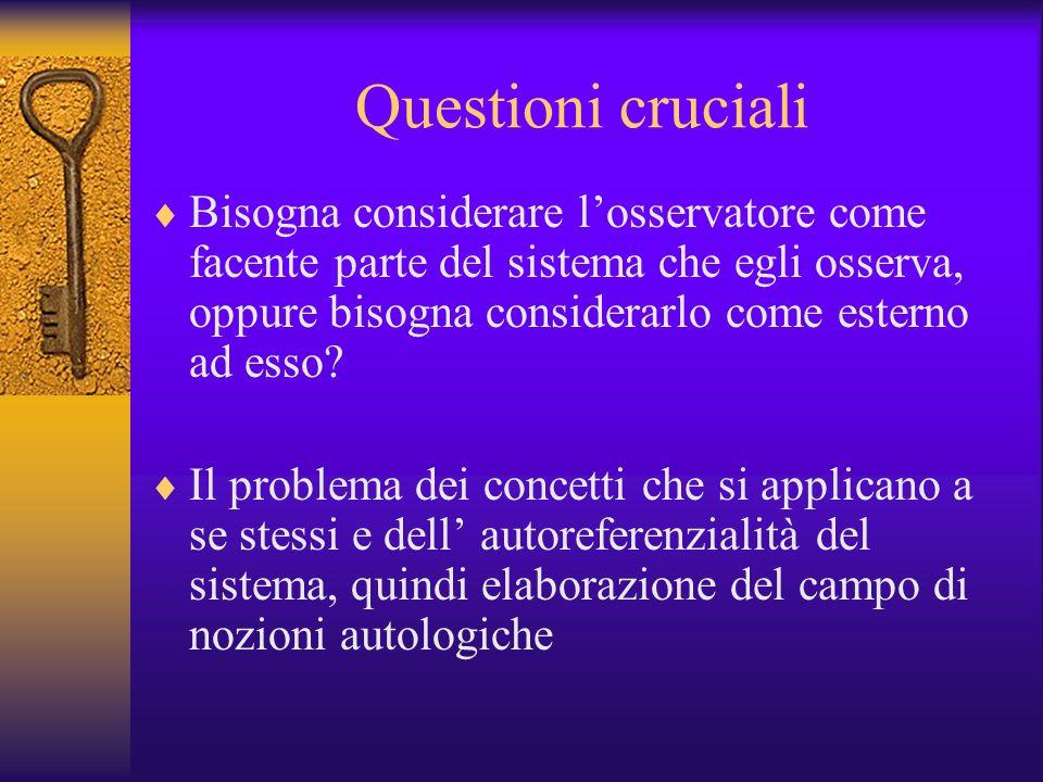 Questioni cruciali Bisogna considerare losservatore come facente parte del sistema che egli osserva, oppure bisogna considerarlo come esterno ad esso?