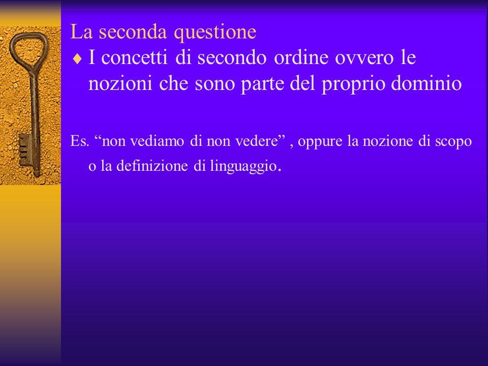 La seconda questione I concetti di secondo ordine ovvero le nozioni che sono parte del proprio dominio Es. non vediamo di non vedere, oppure la nozion
