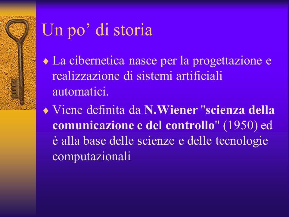 Un po di storia La cibernetica nasce per la progettazione e realizzazione di sistemi artificiali automatici. Viene definita da N.Wiener