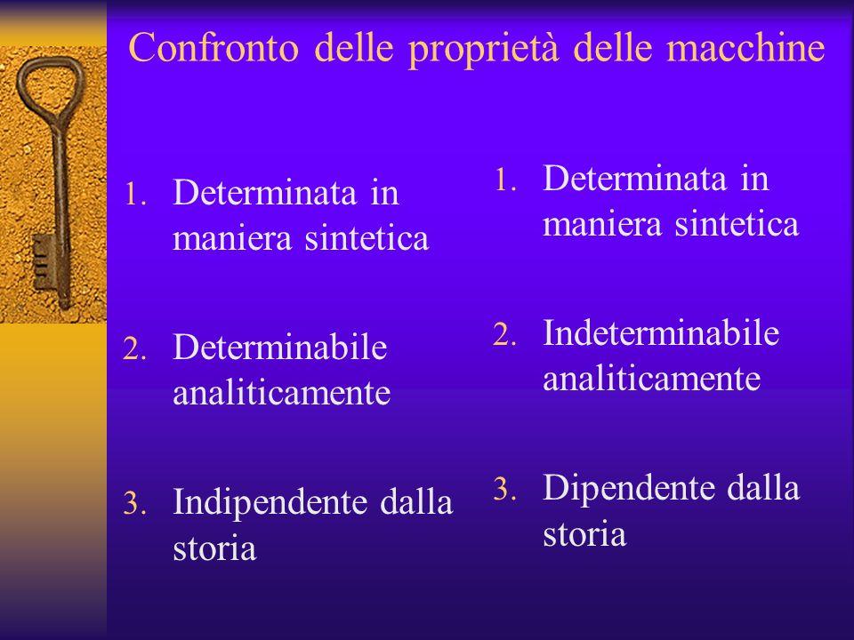 Confronto delle proprietà delle macchine 1. Determinata in maniera sintetica 2. Determinabile analiticamente 3. Indipendente dalla storia 1. Determina