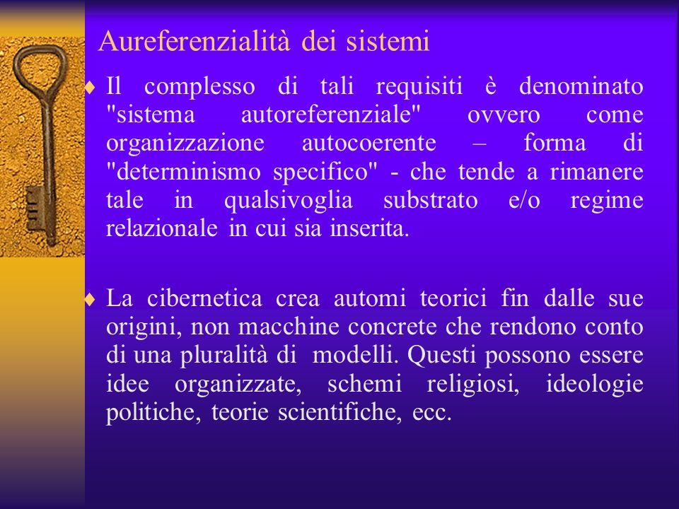 Aureferenzialità dei sistemi Il complesso di tali requisiti è denominato